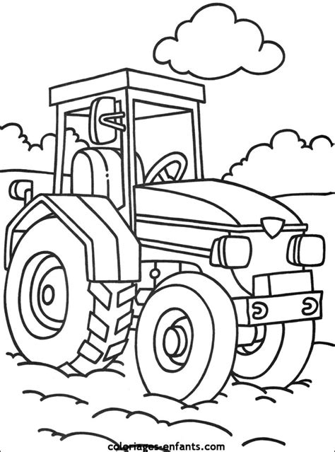 coloriage tracteur avec remorque