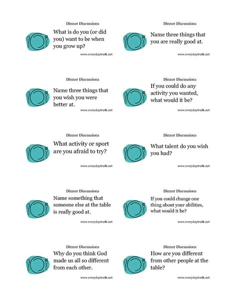 17 Best Images About Activities Conversation Starters On