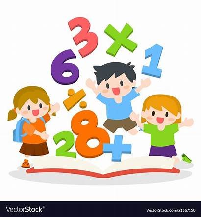 Mathematics Children Learning Books Vector Opened Vectors