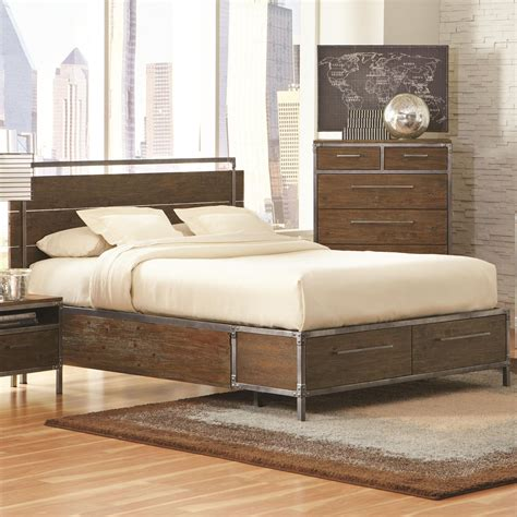 edgy industrial bed    great focal point
