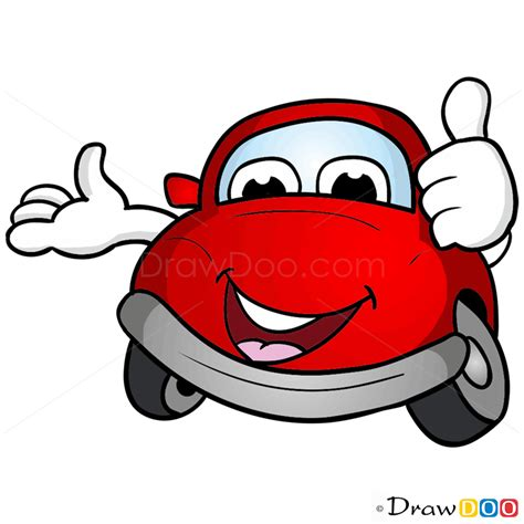 draw  red car cartoon cars