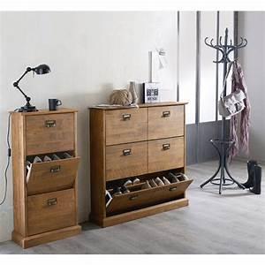 meuble range chaussures 3 abattants lindley ranger With meuble a chaussures en bois massif 4 meuble vestiaire entree mundu fr