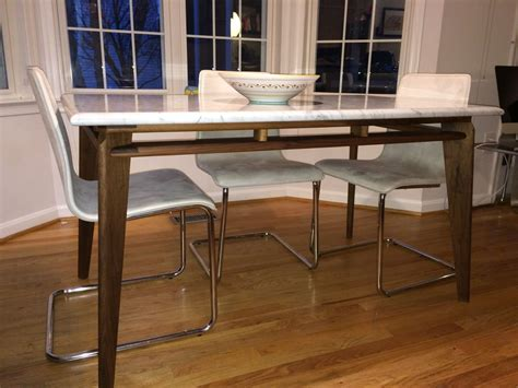 custom walnut modern dining table base for marble or