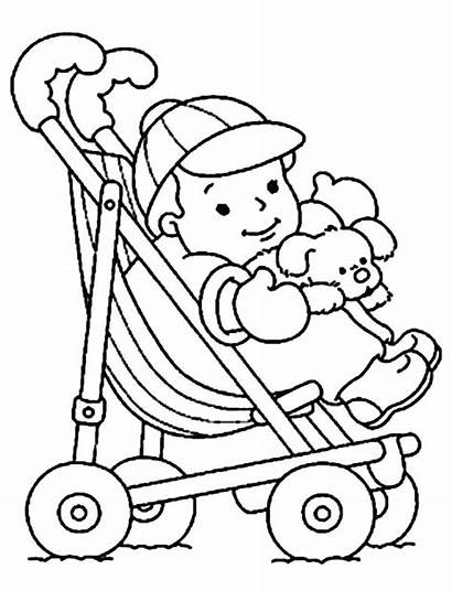 Doll Coloring Pages Pram Stroller Drawing Alive