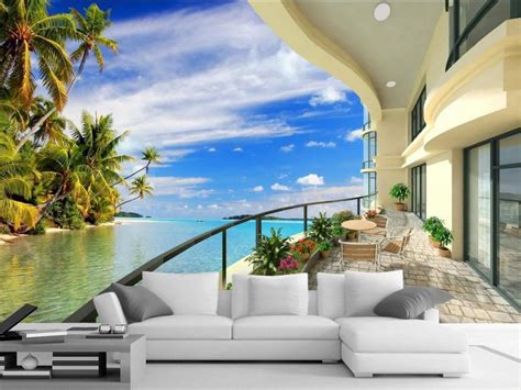 room wallpaper landscape balcony beach wallpaper
