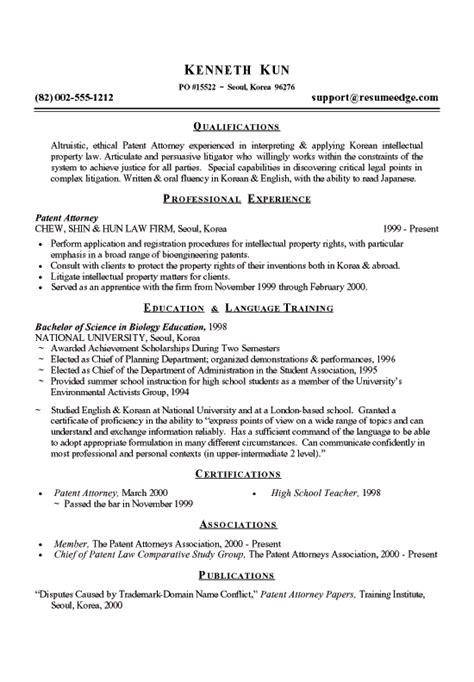 Attorney Resume Sles by Patent Attorney Resume Exles Resume Exles
