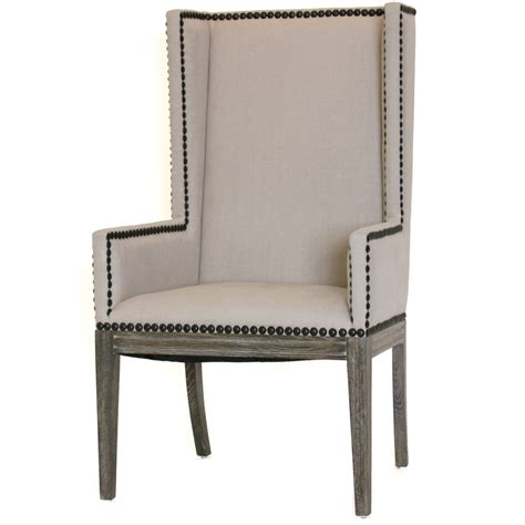 wing back nailhead dining chair armchair