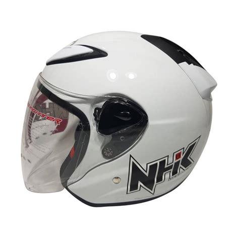 jual nhk r6 helm half solid white harga