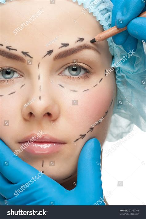 beautiful young woman perforation lines  stock photo
