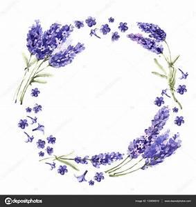 Wildflower lavender flower wreath in a watercolor style ...