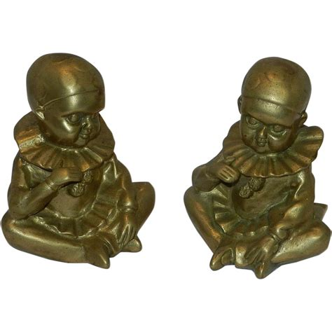 antique brass ls vintage pair of brass child in jester suit paperweight or
