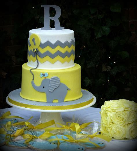 yellow  grey chevron baby elephant st birthday cake