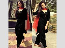 Cotton Plain Self Design Patiala Suit Black