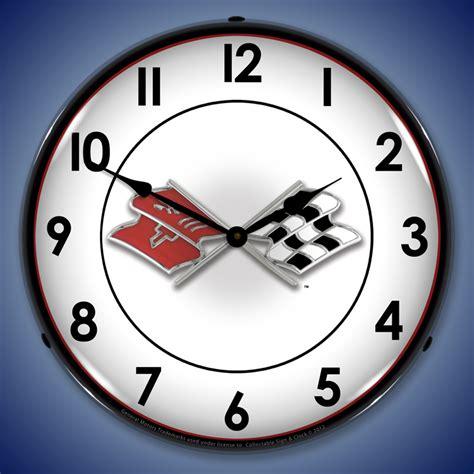 corvette wall clocks corvette lighted garage wall clock