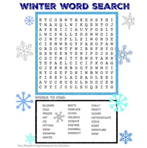 winter word search worksheets printables scholastic
