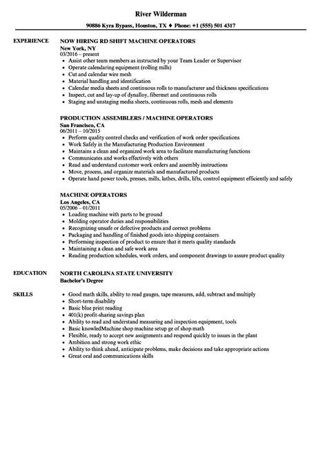 Resume Machine Operator by Machine Operators Resume Sles Velvet