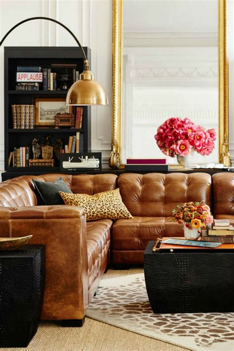 living room decor with leather sofa tanned leather sofas are the hottest decorating trend of
