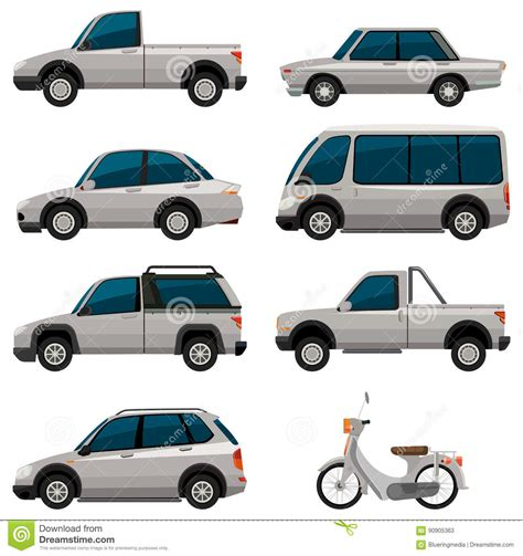 Different Types Of Vehicles In White Color Stock Vector