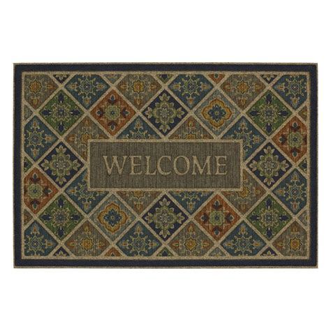 mohawk home tile garden welcome impressions 24 in x 36 in door mat 551872 the home depot