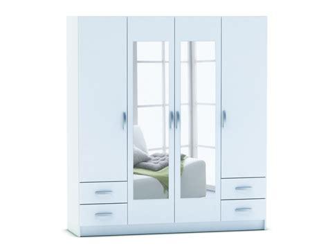chambre adulte fly armoire 4 portes 4 tiroirs spot coloris blanc