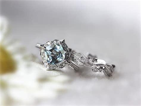 7mm Cushion Aquamarine Wedding Set