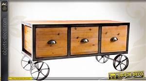 Console Style Industriel : meuble tv console de style industriel sur roues avec 3 tiroirs ~ Teatrodelosmanantiales.com Idées de Décoration