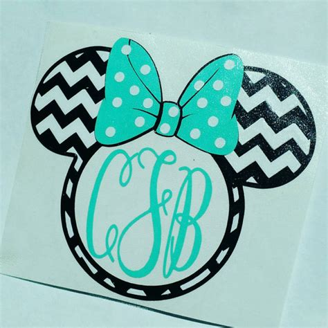 minnie mouse monogram minnie mouse chevron monogram decal for everything in your