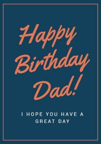 framed happy birthday dad card template  orange text