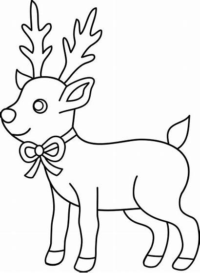 Coloring Reindeer Christmas Clip Sweetclipart
