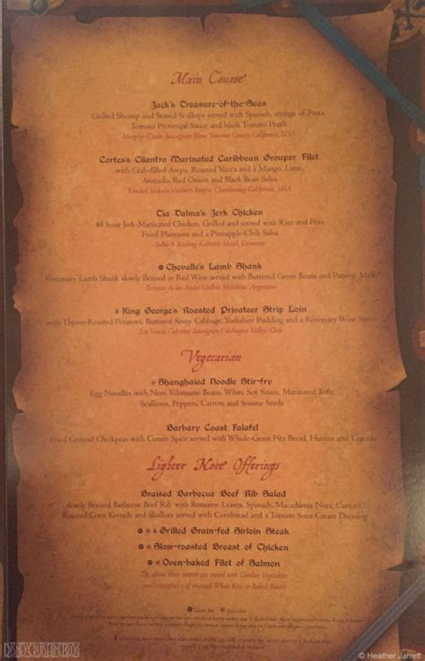pirates   caribbean dinner menu  disney cruise