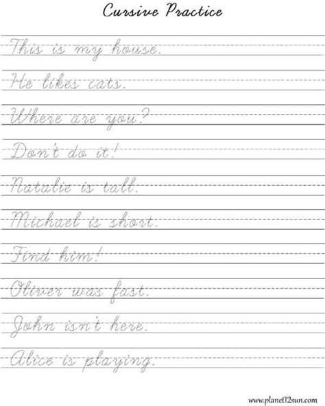 Practice Cursive Writing Short Sentences  Worksheets For Kids  Learning Cursive, Cursive