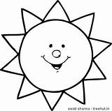 Sun Coloring Printable Treehut Smiling Therapy sketch template