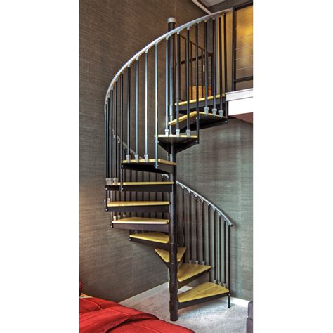 spiral staircase lowes shop the iron shop ontario 60 in x 10 25 ft black spiral staircase kit at lowes com