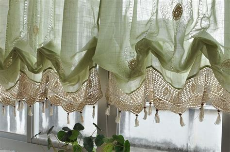 French Country Green Lace Crochet Balloon Shade Austrian