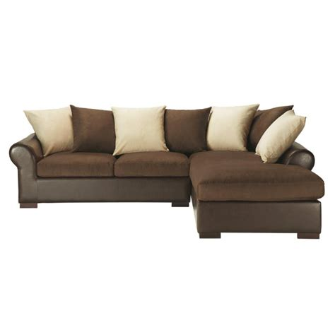 canapé angle marron canapé d 39 angle convertible 5 places en tissu marron