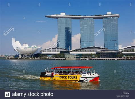 Boat At Marina Bay by Duck Tours Boat With Marina Bay Sands Hotel At The