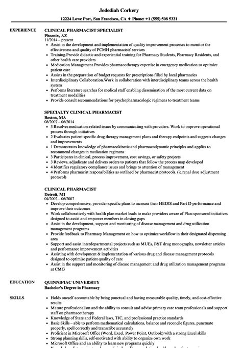 clinical pharmacist resume sles velvet