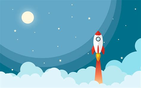 rocket moon stars white clouds space design preview wallpapercom