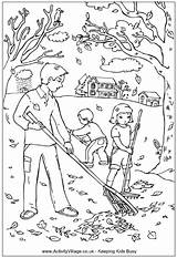 Raking Leaves Colouring Pages sketch template