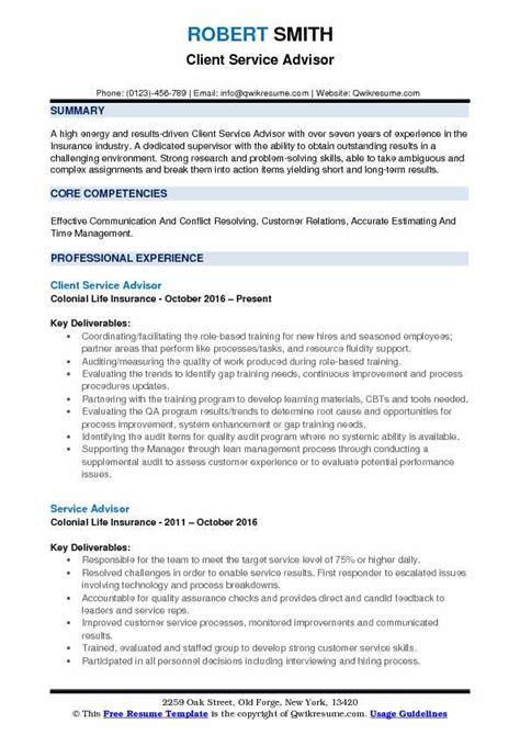 Service Advisor Resume by Service Advisor Resume Sles Qwikresume