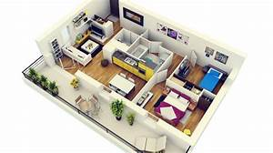 50 plans 3d d39appartement avec 2 chambres With plans d appartements modernes