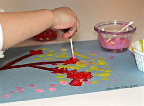 cotton swab tree craft for where imagination grows 893 | q tip tree craft art for toddlers