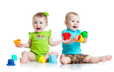 Adorable Babies Playing With Color Toys Children Stock