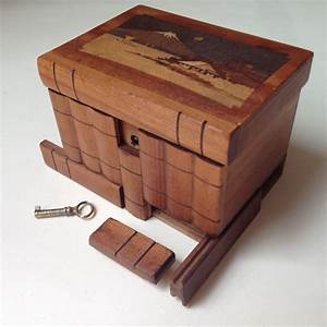 Vintage Japanese Puzzle Box Antique Wooden Marquetry Box