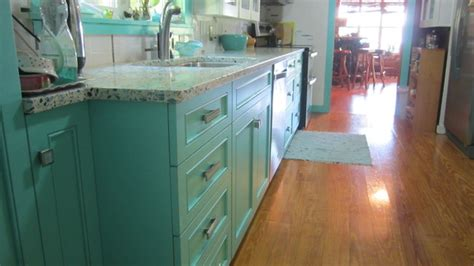 Teal Blue Kitchen Cabinets by Floating Blue Vetrazzo And Teal Cabinetry Eclectic
