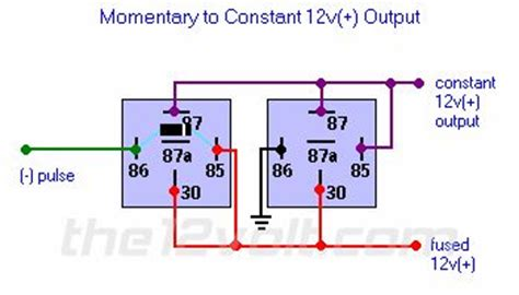 12v Relay Schematic Diagram by Momentary To Constant 12v Output Relay Diagram 12 V