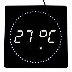 Digitale Wanduhr Groß : led digitale wanduhr mit datum temperaturanzeige ma e 32 cm x 32 cm x 3 cm farbe wei ~ Indierocktalk.com Haus und Dekorationen