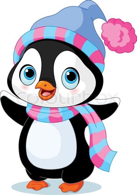 cute winter penguin  hat  scarf stock vector