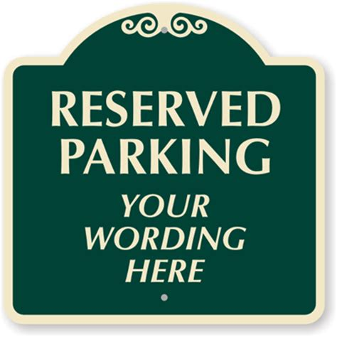 Reserved Parking Signs Template by Custom Parking Signs Custom Parking Lot Signs