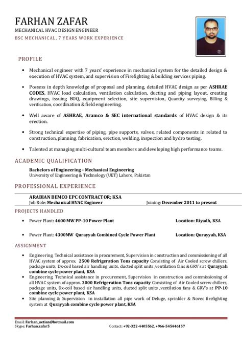 Hvac Mechanical Design Engineer Resume by Hvac Engineer Cv 2015